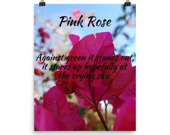 Pink Rose Haiku Poster (Photo Paper)