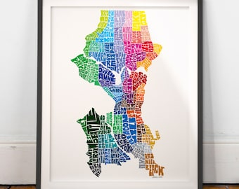 Seattle Neighborhood Map Art Print, Seattle wall decor, Seattle typography map art
