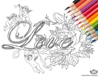 Love  with cherubs, roses DIY Print at home Digital Download Colouring Page, Adult Coloring, Valentine, romance, cherubs, roses, flowers