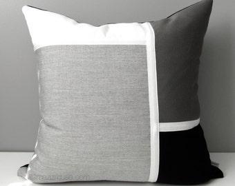 Black White & Grey Outdoor Pillow Cover, Modern Sunbrella Pillow Cover, Decorative Color Block Pillow Cover, Gray Cushion Cover, Mazizmuse