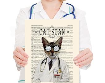 "Medical print -  ""Cat Scan"" - 11"" x 14"" print, whimsical cat print, Veterinary gift,  Doctor gift, Medical intern gift, cat lover art"