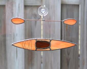 kayak #7 Stained glass suncatcher hanging from silver steel chain