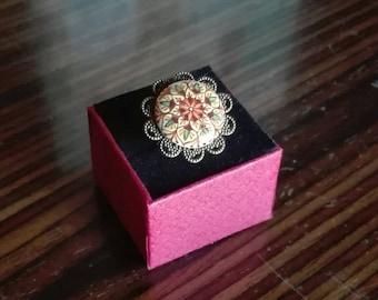 Vintage Hand Painted ceramic ring