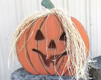 Primitive Wood Pumpkin PATTERN - Large Jack-O-Lantern- Lighted WC620