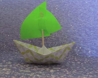 paper boat sail boat green flag ocean beach summer holidays baby shower nursery bookshelf display