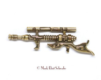 Blaster Long Gun Sci Fi, steampunk military style tac pin BRASS limited edition