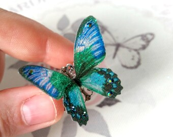 Beautiful Green & Blue 3D Butterfly Ring