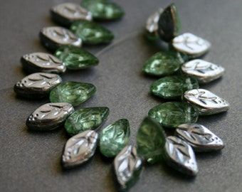 Silver Mint Czech Glass Leaves - Leaf Drop Beads - Green Leaf Beads
