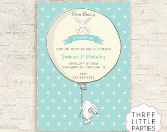 Bunny Birthday Invitation, Girl Bunny Printable Birthday Invitation, Boy Bunny Party, Personalized, Some Bunny