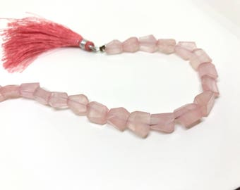 AA Quality Brazil Rose Quartz Step Cut Faceted Tumbles Nuggets Short Strand