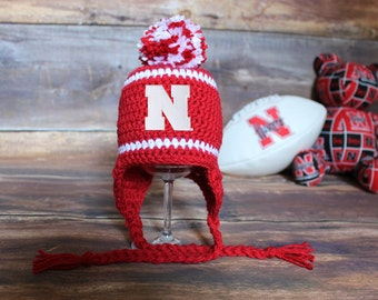 Nebraska Huskers Stocking Hat with Pom-Pom - Size Newborn to Child infant baby toddler kids Huskers hat Cornhuskers knit cap
