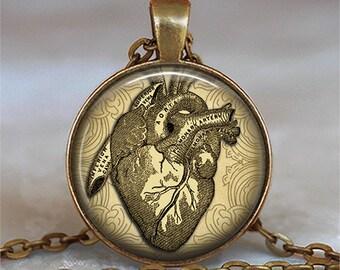 Antique Heart necklace, gift for cardiologist cardiac nurse's gift cardiovascular nurse graduation gift key chain key ring fob