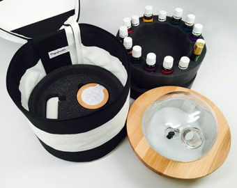Essential Oil Diffuser Bag, Fits Young Living's ARIA Diffuser. Space for plug and remote and 15 Essential Oils secured by foam.