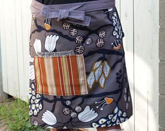 Earth tones apron, grey, brown, orange, trees, leaves, seedpods, woman's half apron, heavy canvas