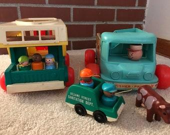 Vintage Fisher Price Milk Truck & Camper