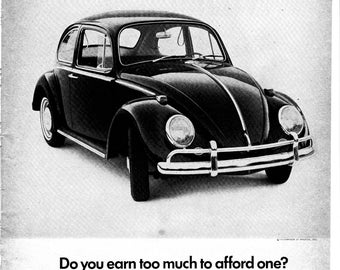 1966 VW Beetle Volkswagen Bug Original Magazine Ad-Earn Too Much To Afford One?