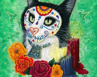 Day of the Dead Cat Candles Art Mexican Sugar Skull Cat Gothic Cat Art Limited Edition Canvas Print 11x14 Art For Cat Lover
