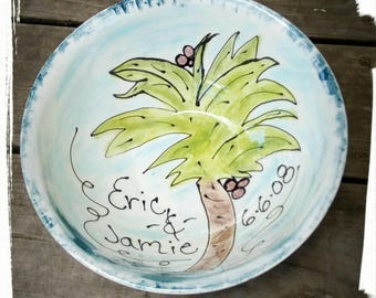 Choose your theme.  Xlarge serving bowl mixing bowl popcorn bowl salad bowl family bowl personalized bowl with names 9th anniversary pottery