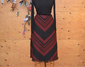 Red And Black Chevron Striped A-line Christmas Winter Skirt SZ M