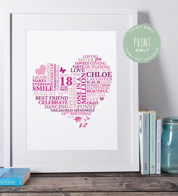 18th birthday gift birthday print heart personalised word art gift 18th birthday gift for her 18th birthday gift girl