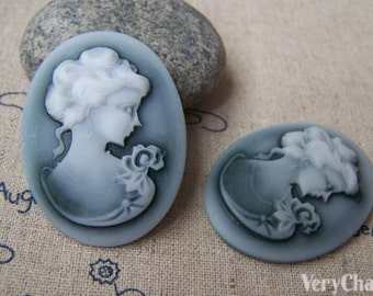 4 pcs Resin Victorian Green Lady Oval Cameo Cabochon 30x40mm  A4032
