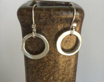 Small Sterling Silver Hoop Earrings, Hand Forged Metal Hoop Earrings