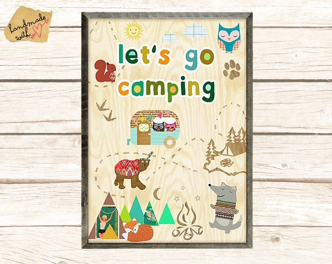 Let's go camping cute Poster Print, Nursery, Kids room, wall art