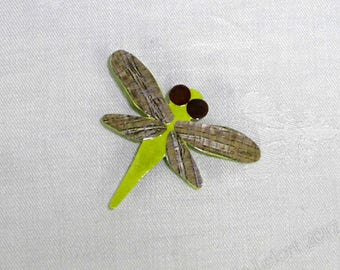 Unique Colorful Paper Dragonfly Brooch Pin - Light Green , Gray , and Brown