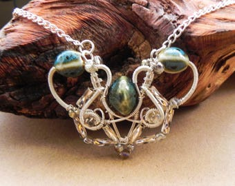 Wirewrapped Necklace with Pottery Beads