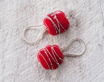 Red earrings. Handmade glass bead, red dangle earrings! Earrings perfect for a special occasion or for everyday wear. Great gift for her.