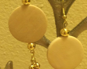 Dangle Earrings, Natural Wood, with gold accents for that bling.