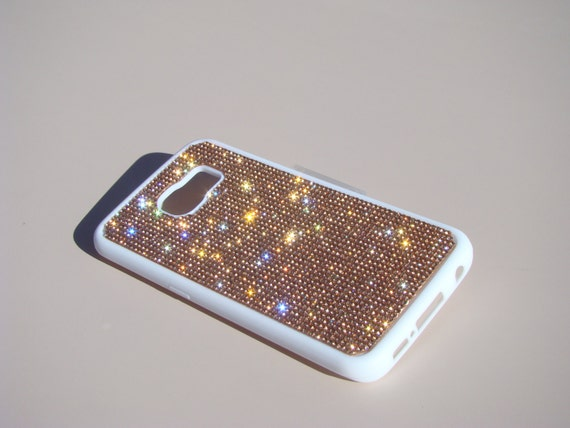 Galaxy S6 Edge Rose Gold Diamond Crystals on White Rubber Case. Velvet/Silk Pouch Bag Included, Genuine Rangsee Crystal Cases.