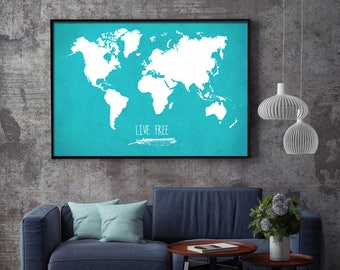 World Map Poster, Live Free World Map, Map of the World, Map Decor, World Map Art, World Poster, Giant World Map, Travel Poster, Live Free
