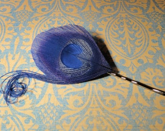 Royal Blue Peacock and Curls Feather Bobby Pin, Feather Hair Pin
