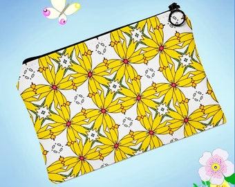 Yellow Cosmetic Bag, Flowers Pouch, Fancy Pouch, Travel Toiletry Bag, Pencil Case, Sunny Yellow Pouch, Yellow Makeup Bag, Kate Elkind