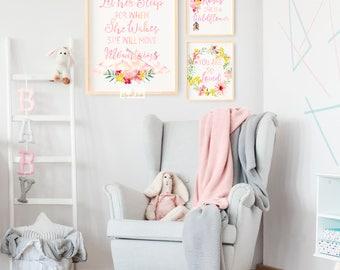 Let Her Sleep Nursery Print, Boho Nursery Decor, Baby Girl Nursery, Digital Nursery Printable, Baby Shower Gift, Shabby Chic Nursery