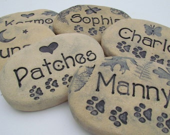 "Pet Memorial Stone grave marker 4x6"". Custom Name / Nature designs. Flowers, leaves, moon & stars, butterflies, paw prints, heart + more"