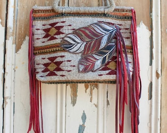 Tooled Feather Woven Bag