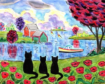 ORIGINAL PAINTING,  Black Momma Cat ready for a Swim in the Cove and a Snack in the Grove and to rent a Canoe, Summer Sun, by DM Laughlin