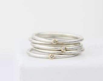 Whole stack of diamond stacking rings, teeny diamond ring, teeny stacking set