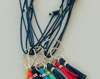 Steel blue cord bracelet customizable knots & double ring shiny Sterling Silver 925 + 2 tassels to choose