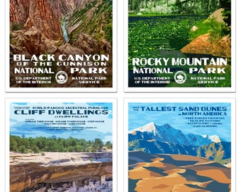 The National Parks of Colorado - Set of 4 NationalPa rk Posters - Black Canyon of the Gunnison, Great Sand Dunes, Mesa Verde, Rocky Mountain