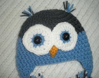 Crochet owl hat, baby owl have, crochet baby hat, baby boy gift, 0-3 month baby gift, newborn photo prop, baby shower gift, baby earflap hat