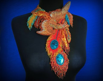 Exclusive bead embroidered Firebird necklace / hand tooled leather necklace with phoenix - High fashion artisan jewelry