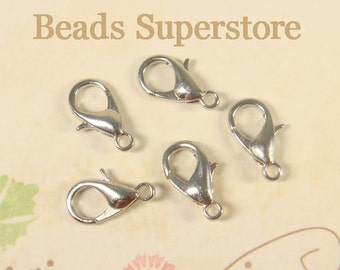 12 mm Platinum-Plated Alloy Lobster Claw Clasp - Nickel Free, Lead Free and Cadmium Free - 20 pcs