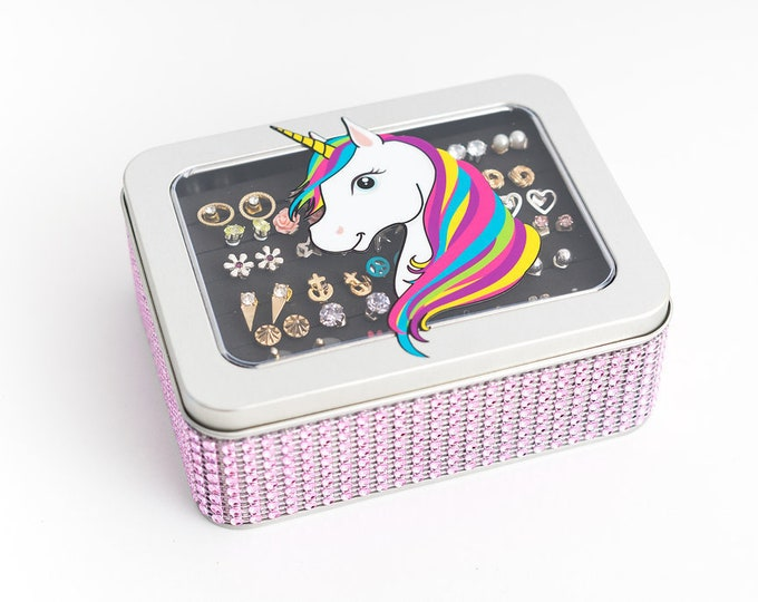 Earring Jewelry Box - Unicorn Tin Box - Light Pink Ribbon