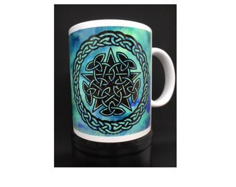 Celtic five pointed star knot mug