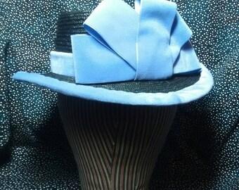Civil War Era Straw Hat with PURPLE Velvet Ribbon- Hand Sewn by Anna Worden Bauersmith
