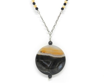Sunset on Disk: Agate, Carnelian and Onyx Sterling Silver Necklace