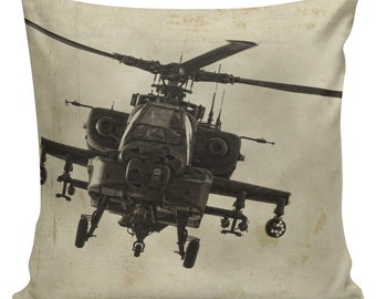 Military History Pillow Vintage Burlap Pillow Cover AH-64 Apache Helicopter Military Channel Lovers Cotton Throw Pillow Cover MI-02